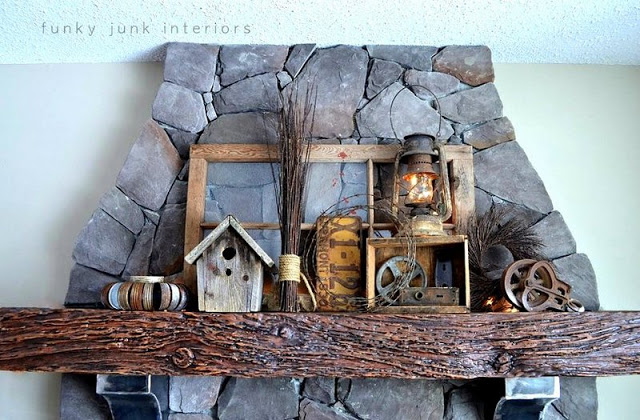 junk styled mantel with old window and rusty lantern and other old antiques / funkyjunkinteriors.net