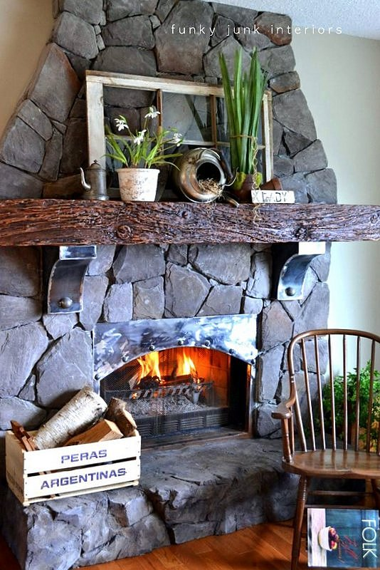 Creating an old world stone fireplace, WITHOUT massive destruction, via https://www.funkyjunkinteriors.net/