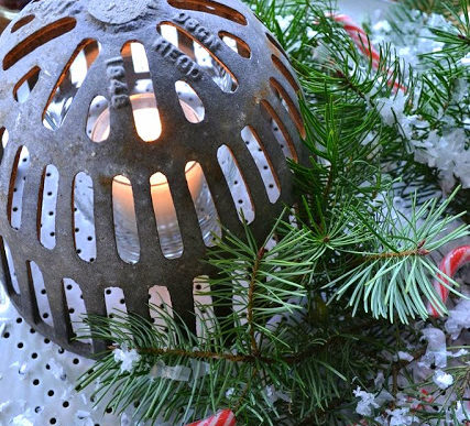 Rusty junk drain cover Christmas candle centerpiece