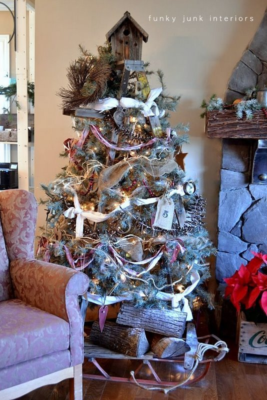 The making of a stepladder Christmas tree... yes, there's one in there! via FunkyJunkInteriors.net
