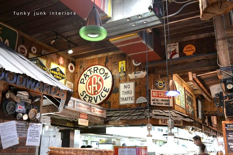 Antique signs and lighting inside Mission Springs Brewing Company