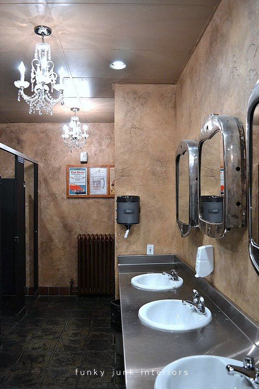 Truck grill mirrors and chandeliers decorate the ladies' washroom. Welcome to a full blown tour of the inside of Mission Springs Brewing Company, a junk-filled pub and restaurant filled with antiques and salvage architecture you will not believe!
