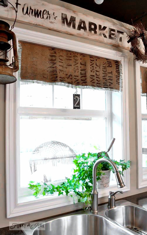 No sew coffee bean sack burlap window shades via Funky Junk Interiors