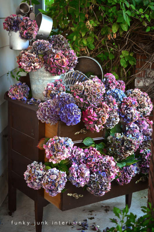 Learn how to arrange and dry hydrangeas inside a dresser... without wilting! Perfect for fall front porch decorating!