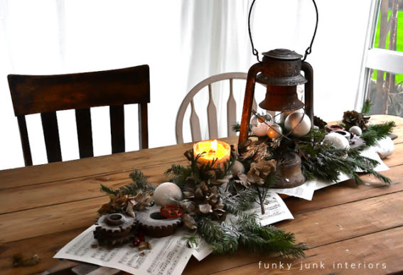 rusty gear and lantern Christmas candle centrepiece