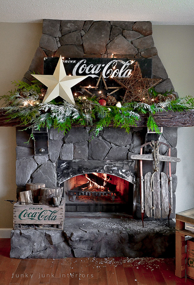 Coca cola Christmas fireplace mantel by FunkyJunkInteriors.net