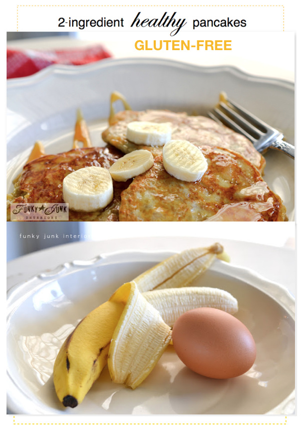 If you love pancakes but don't want to eat gluten, try these delicious gluten-free 2-ingredient healthy pancakes made with eggs and bananas! So nutritious and easy to make! Click to read full recipe tutorial.
