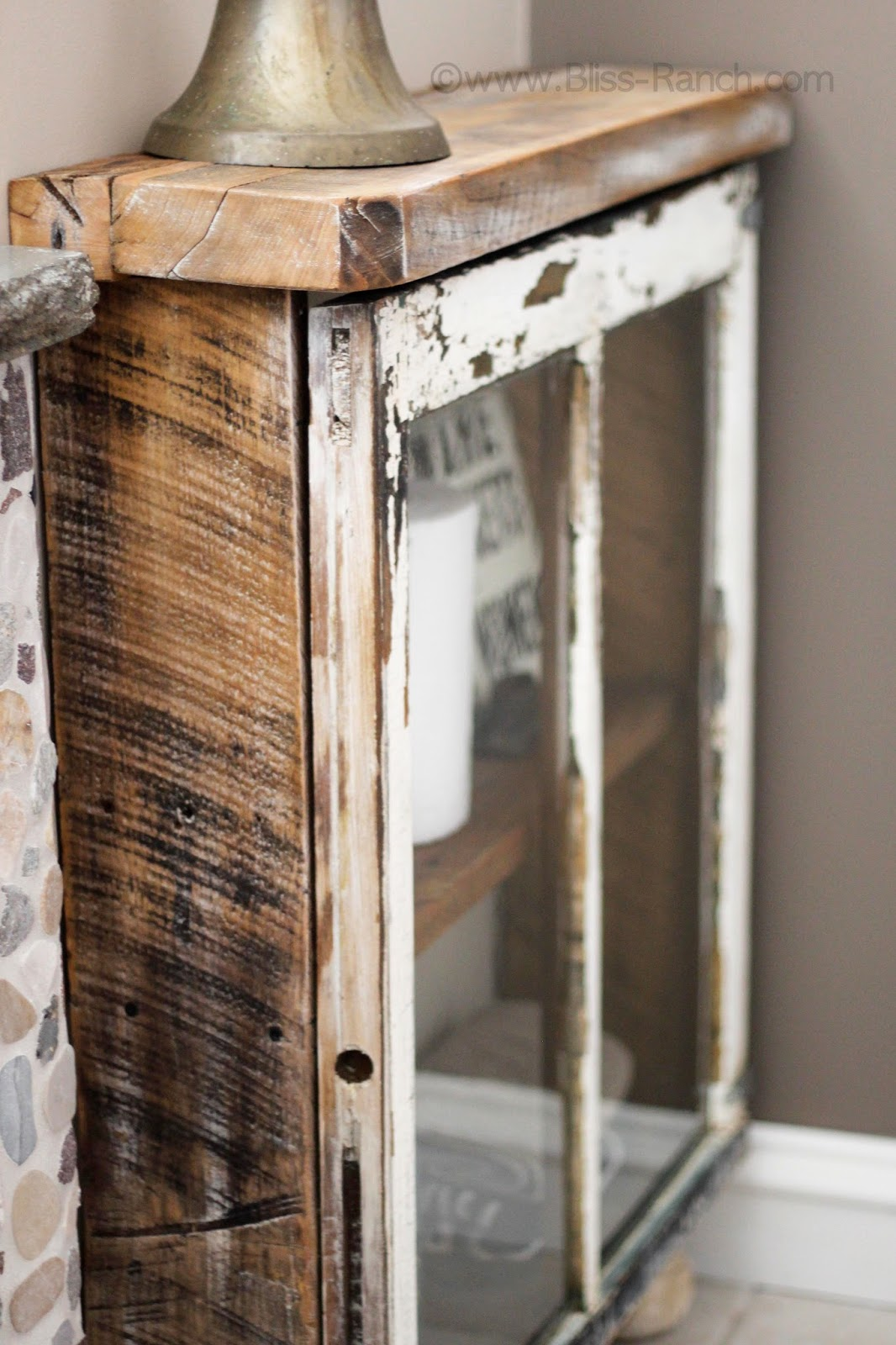 Old window reclaimed wood cabinet, by Bliss Ranch, featured on Funky Junk Interiors