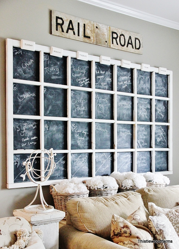 Old window chalkboard calendar by Thistlewood Farms, featured on Funky Junk Interiors