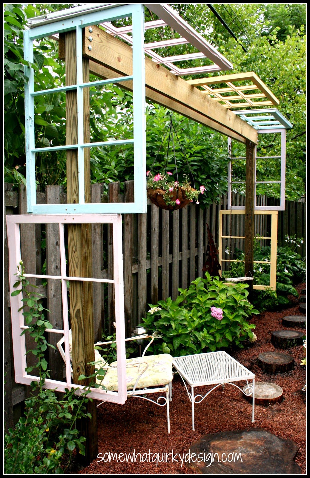 Old window pergola by Somewhat Quirky, featured on Funky Junk Interiors