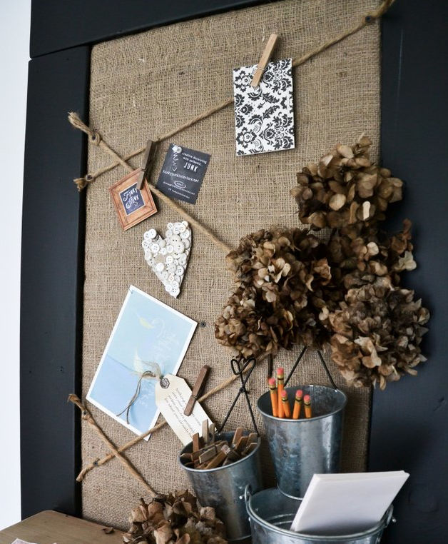 Burlap and twine bulletin board via FunkyJunkInteriors.net