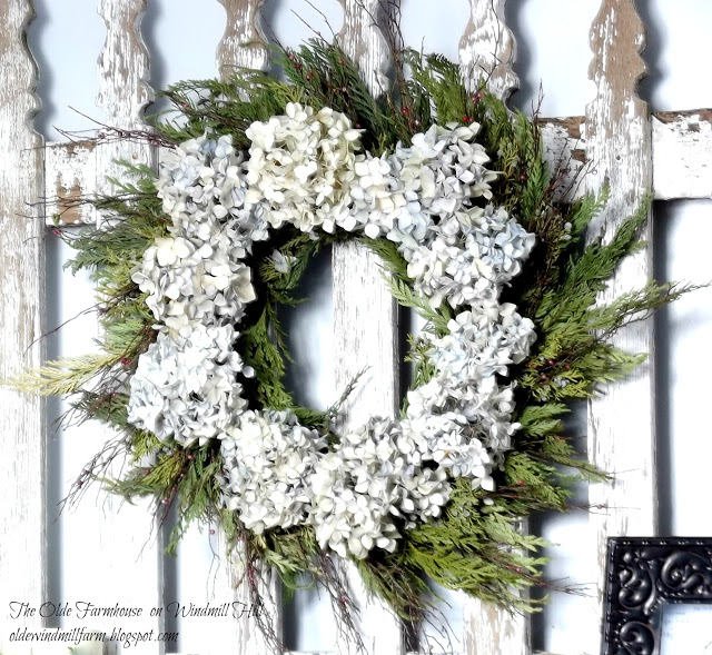 Evergreen and Hydrangea Wreath