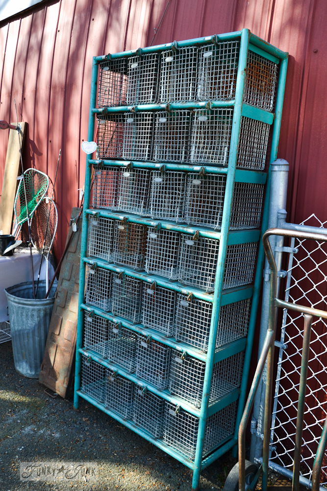 Aqua metal lockers at Rusty's New & Used Variety Store in Harrison Hot Springs, BC