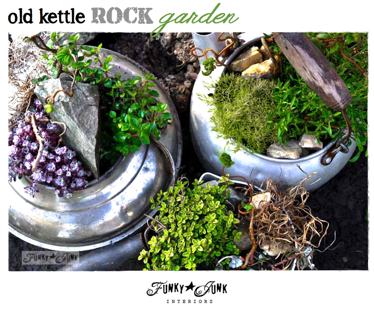Old kettle rock garden via http://www.funkyjunkinteriors.net/