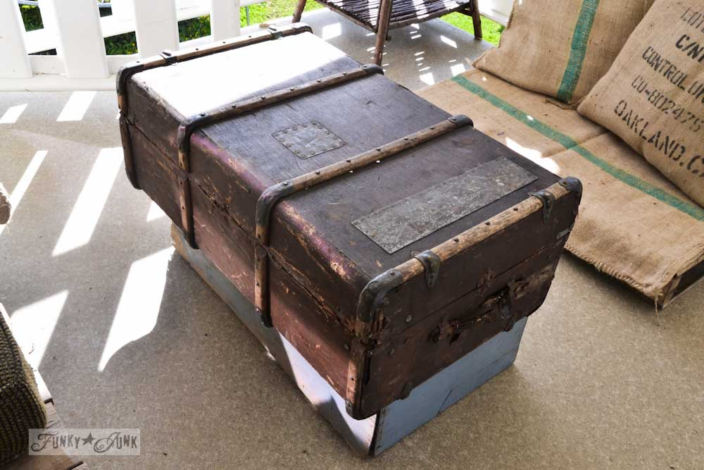 Patio project inspiration - old trunk coffee table