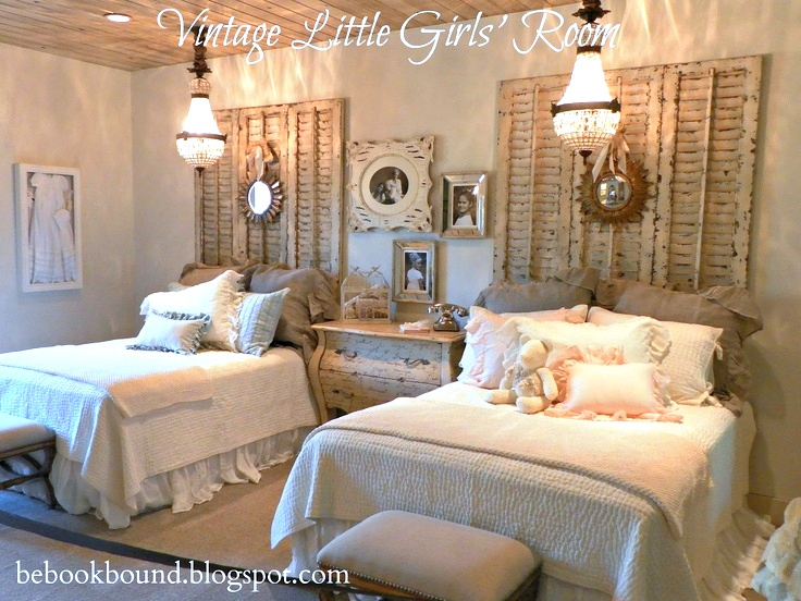 Vintage little girl's room by Be Book Bound featured on Funky Junk Interiors