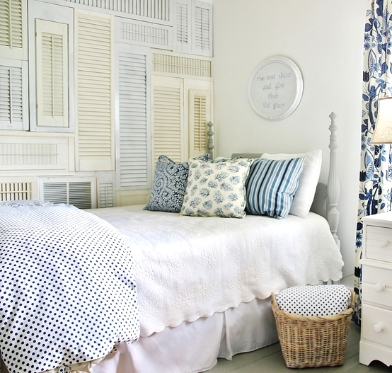 bedroom shutter wall by Thistlewood Farms featured on Funky Junk Interiors