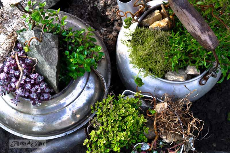 Old kettle rock garden via Funky Junk Interiors