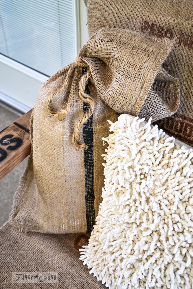 Sandbag burlap pillow, via Funky Junk Interiors