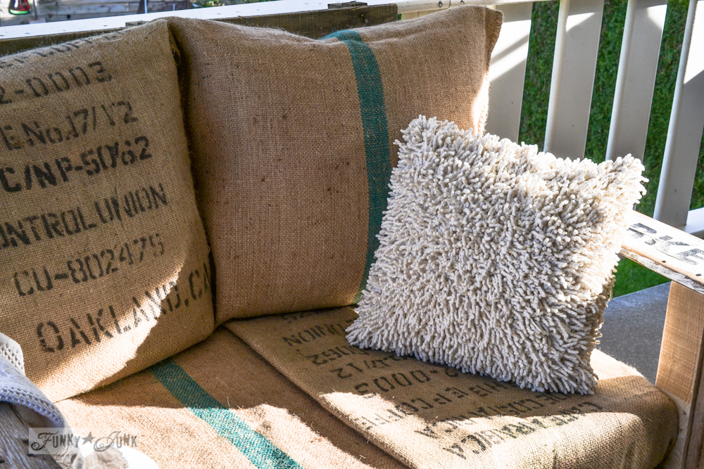 burlap coffee bean sack upholstery / A cool pallet wood chair anyone can make in a couple of hours - part 1 via FunkyJunkInteriors.net