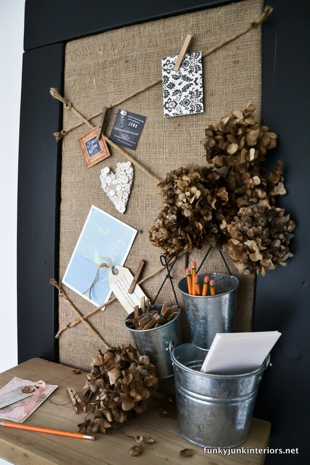 burlap and twine bulletin board via Funky Junk Interiors