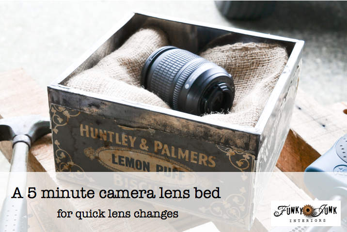A 5 minute camera lens bed - for quick lens changes, via Funky Junk Interiors