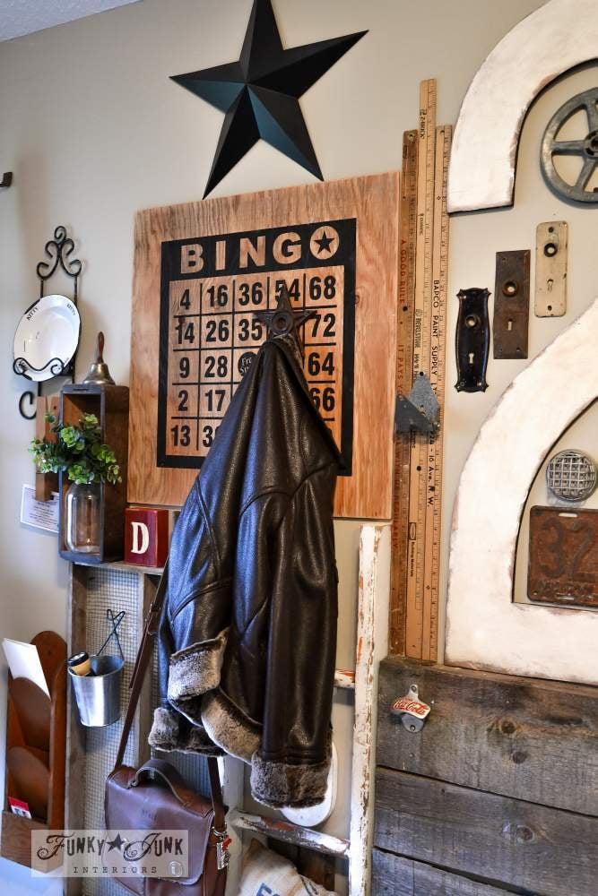 Bingo board wall art, part of a wall art gallery via Funky Junk Interiors