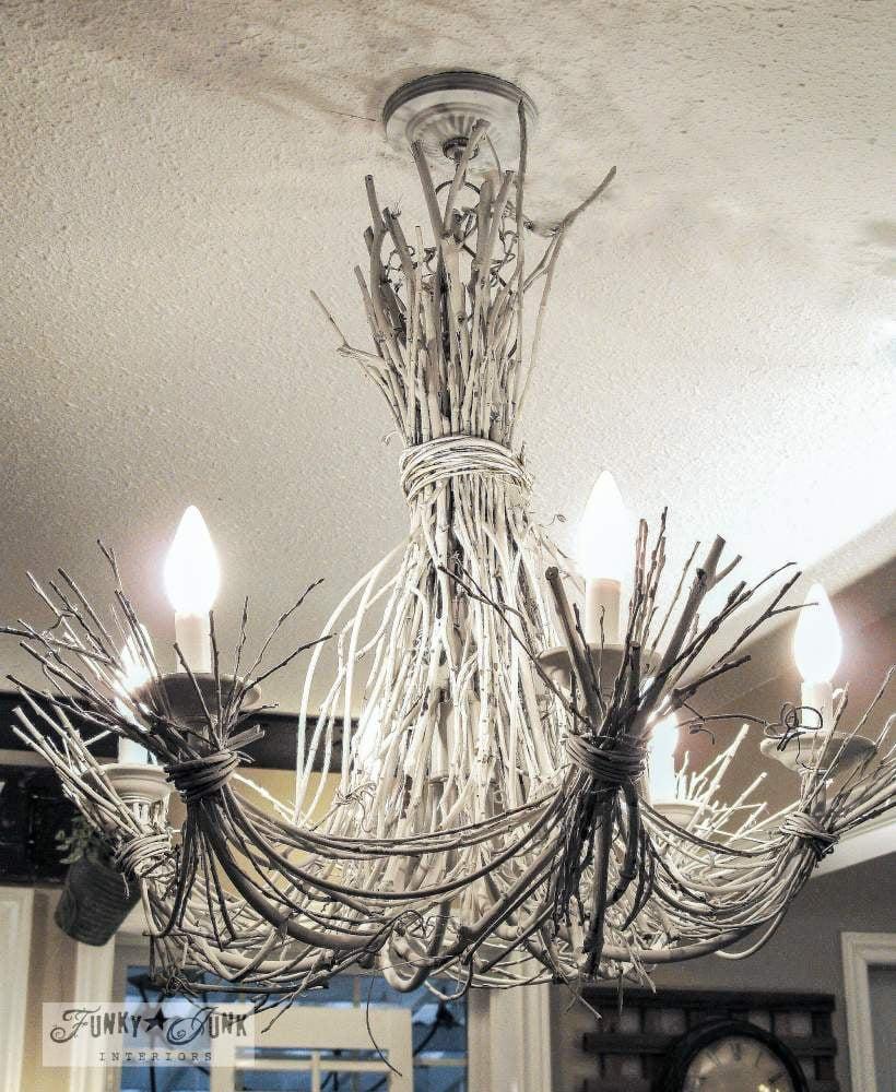 White twig chandelier above kitchen island via Funky Junk Interiors