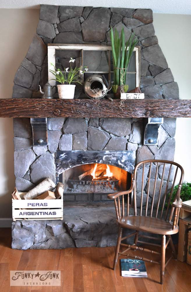 Floor to ceiling rock fireplace, made from cultured stone, via Funky Junk Interiors, part of a whole home JUNK tour.