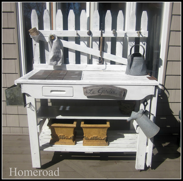 junk styled potting bench