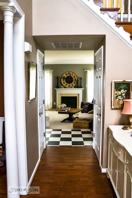 Karen - The Graphics Fairy's interior decorating - hallway with checkerboard kitchen floor