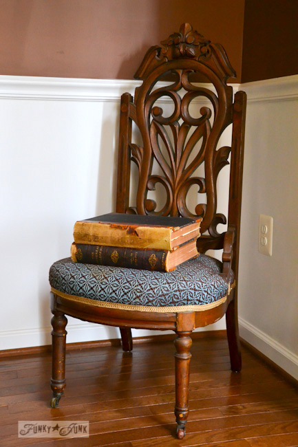 Karen - The Graphics Fairy's house - antique chair stacked with books vignette