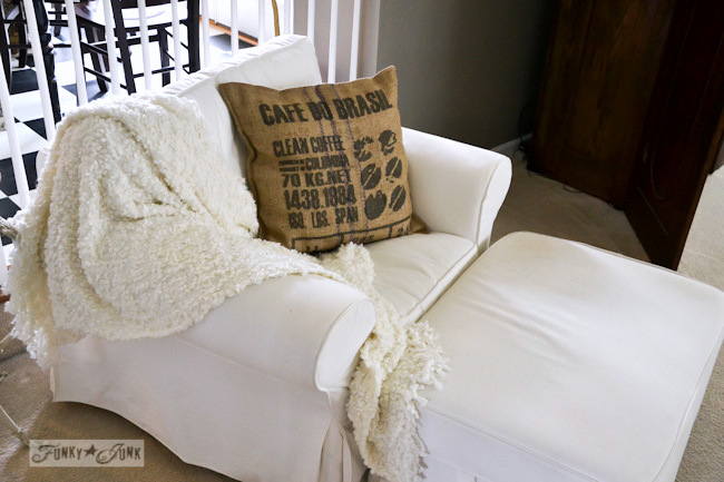 Karen - The Graphics Fairy's house - white chair and ottoman with coffee bean sack pillow