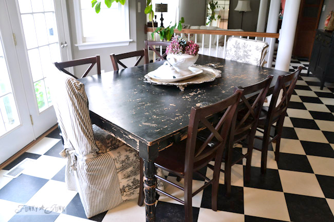 Karen - The Graphics Fairy's interior decorating - distressed black kitchen table and mismatched chairs