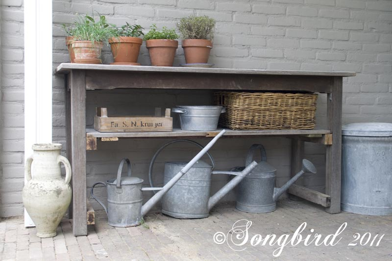 Table styled potting bench via Songbird