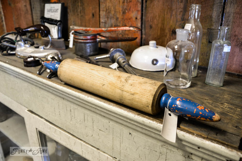 Junk Shopping at The Back Porch Harrison Hot Springs, BC - antique vintage rolling pin with rare blue handles