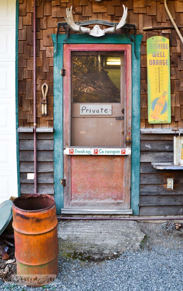 Junk Shopping at The Back Porch Harrison Hot Springs, BC - rustic door