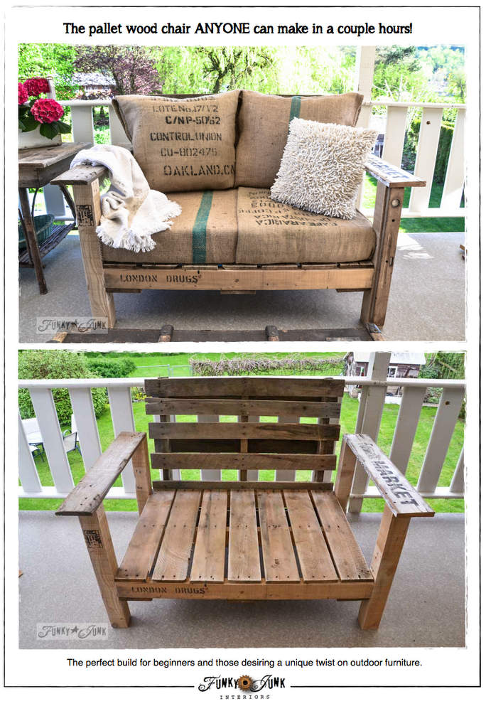 The pallet wood chair ANYONE can make in a couple hours via https://www.funkyjunkinteriors.net/