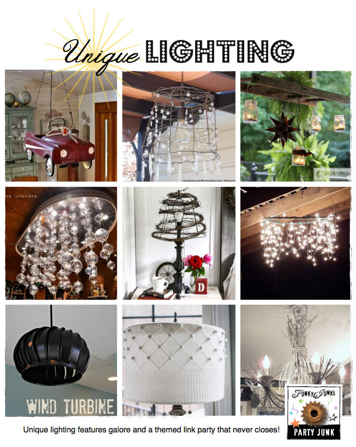 Unique Lighting - features and a themed link party that never closes! Come link up or just be inspired! !via Funky Junk Interiors