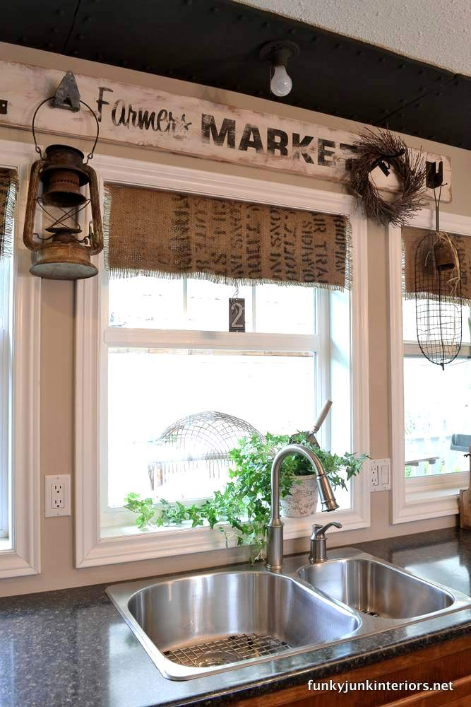 coffee bean bag window valances via Funky Junk Interiors