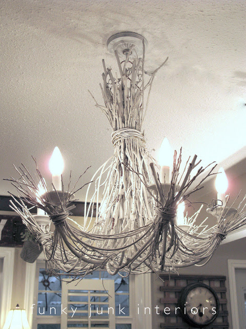 White twig chandelier by Funky Junk Interiors