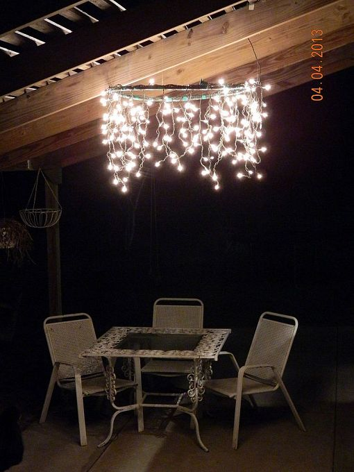 Hoola hoop chandelier by LeeAnn M on Hometalk