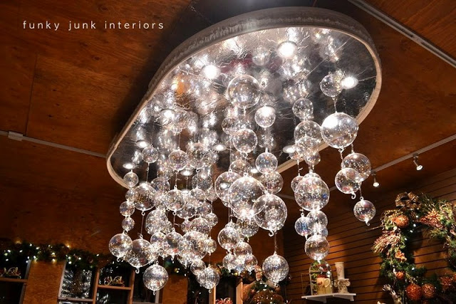 Christmas ornament chandelier by Milner Village Garden Centre featured on Funky Junk Interiors