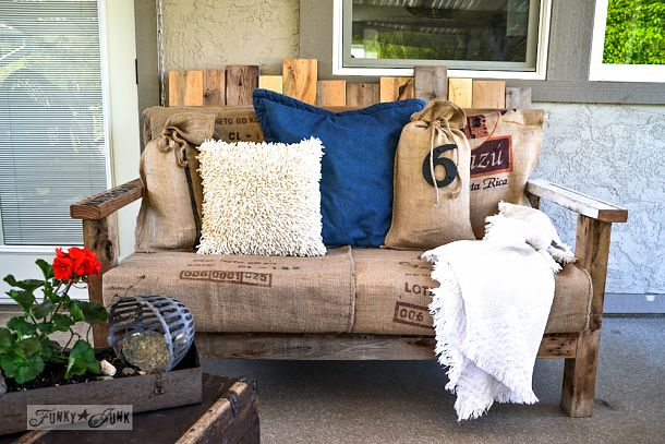 Pallet wood sofa, coolest and comfiest outdoor furniture ever! | funkyjunkinteriors.net