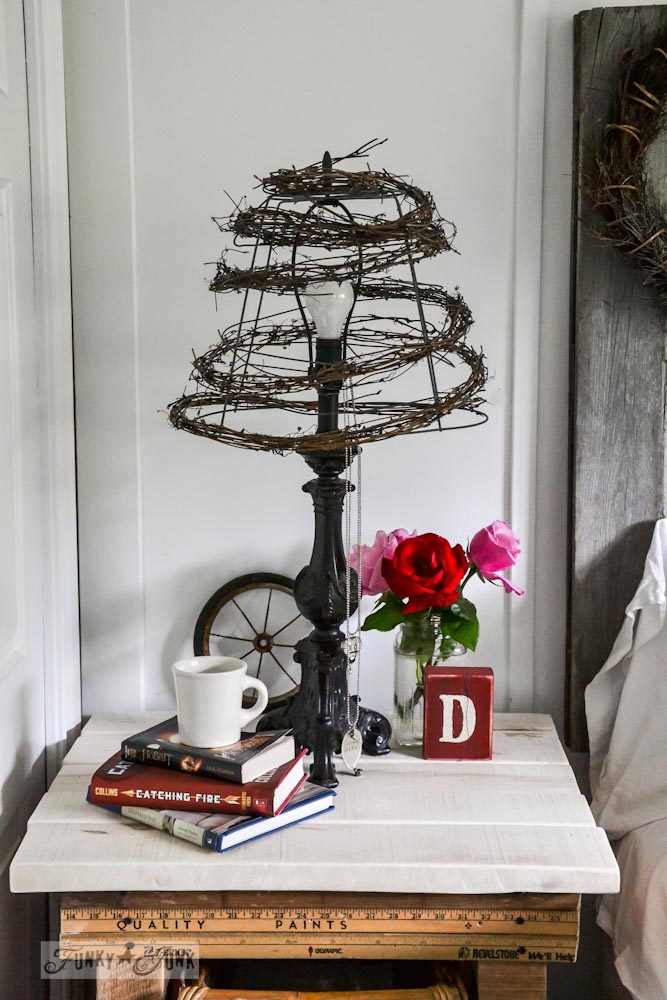 twig and wire cage lamp shade