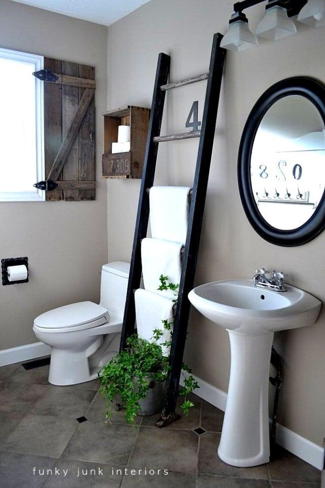 Bathroom with ladder towel holder via https://www.funkyjunkinteriors.net/