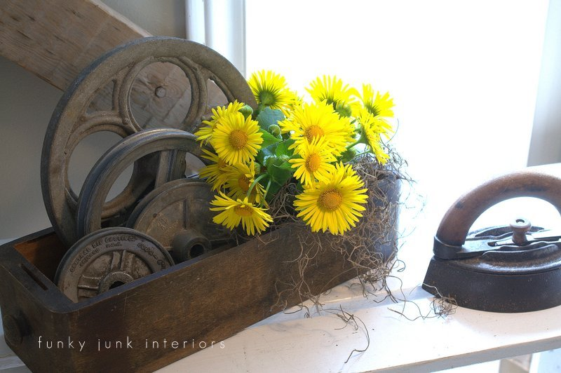flowers in creative junk vases funky junk interiors - yellow flowers in sewing machine drawer