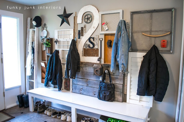 front entry gallery coat hook wall via Funky Junk Interiors