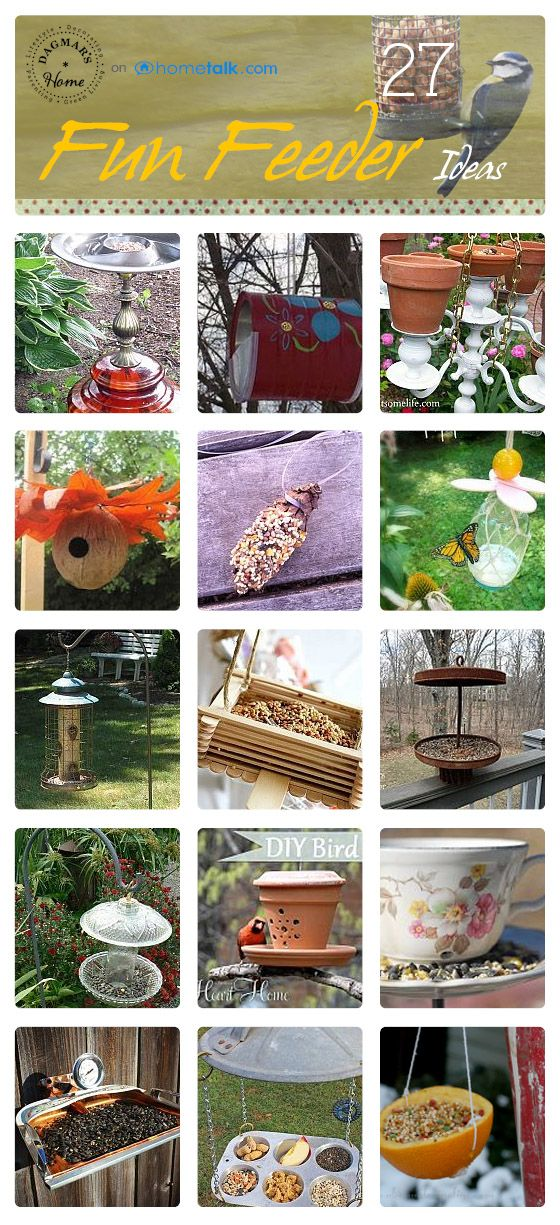 27 Fun Bird Feeder Ideas, curated from Hometalk, featured on Funky Junk Interiors
