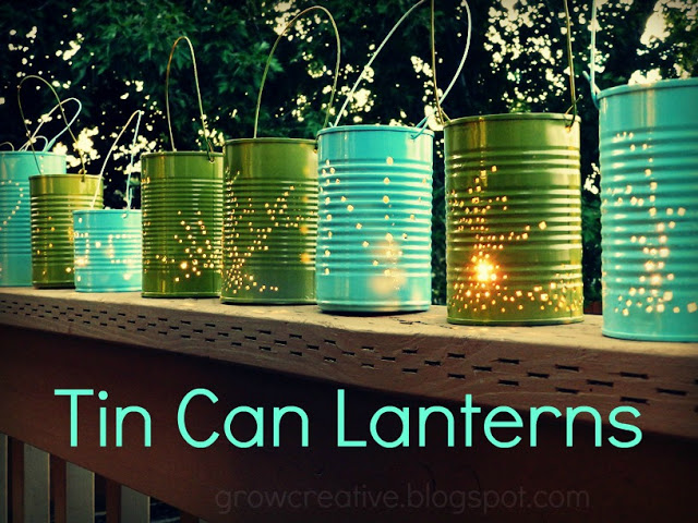Tin can lanterns, by Grow Creative, featured on Funky Junk Interiors
